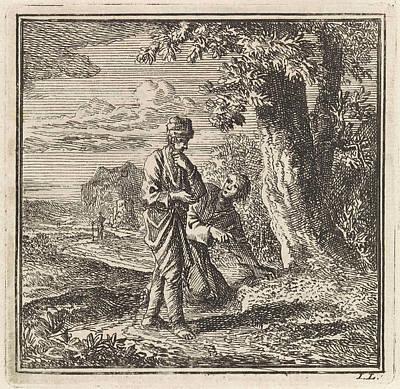 Ant Drawing - Two Men Look At An Anthill, Jan Luyken by Jan Luyken And Wed. Pieter Arentsz & Cornelis Van Der Sys Ii