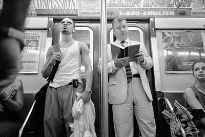 Photograph - Two Men New York Subway by Dave Beckerman