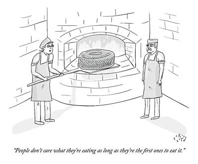 Hipster Drawing - Two Men Place A Car Tire Into A Brick Oven by Farley Katz