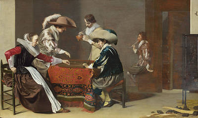 Painting - Two Men Playing Tric-trac With A Woman Scoring by Willem Cornelisz Duyster