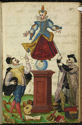 Two Men Pulling The Strings Of A Puppet Art Print by British Library
