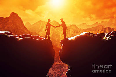 Shake Photograph - Two Men Shake Hands Over Precipice by Michal Bednarek