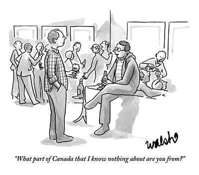 Canada Drawing - Two Men Talk At A Cocktail Party by Liam Walsh