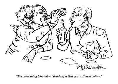 Internet Drawing - Two Men Talk In A Bar Holding Beer Bottles by William Hamilton