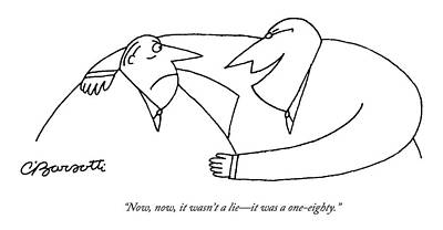 Drawing - Two Men Talk.  One Looks Horrified by Charles Barsotti