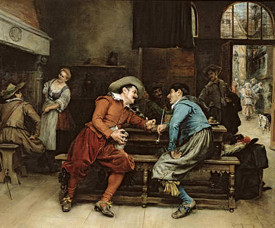 Two Men Talking In A Tavern Art Print by Jean Charles Meissonier