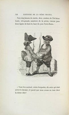 Two Men With Fishing Rods Art Print by British Library