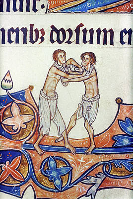 Wrestle Painting - Two Men Wrestling, C1290 by Granger