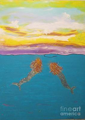 Painting - Two Mermaids by Christal Kaple Art