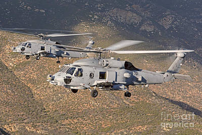 Sikorsky Photograph - Two Mh-60 Helicopters Of The U.s. Navy by Phil Wallick