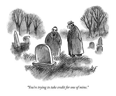 Gangster Drawing - Two Mobsters / Gangsters Stand By A Grave by Frank Cotham