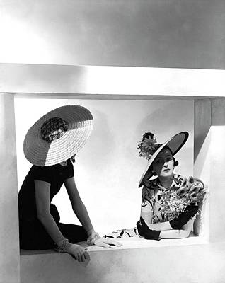 Cartwheel Photograph - Two Model Sitting In A Window by Horst P. Horst