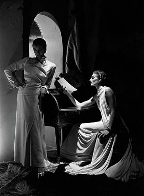 1930s Fashion Photograph - Two Models Wearing Clothing By Yrande And Maggy by Horst P. Horst