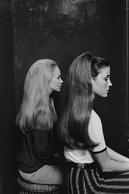 1960s Photograph - Two Models Wearing Hairpieces by Ted Hardin