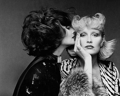 Fashion Jewelry Photograph - Two Models Wearing Wigs By Edith Imre by Francesco Scavullo