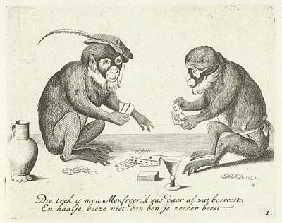 Two Monkeys Cards, Quirin Boel, David Teniers II Art Print
