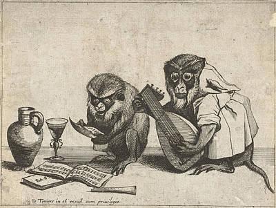 Human Beings Drawing - Two Monkeys Making Music, Quirin Boel, David Teniers II by Quirin Boel And David Teniers (ii)