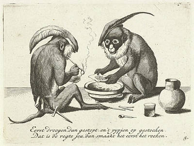 Two Monkeys Smoking A Pipe, Quirin Boel, David Teniers II Art Print