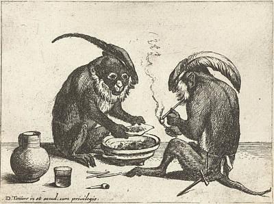 Two Monkeys Smoking Pipe, Quirin Boel, David Teniers II Art Print
