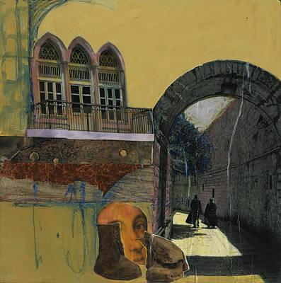 Ruins Mixed Media - Two  Monks by Jillian Goldberg