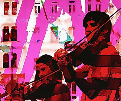 Violin Digital Art - Two Musicians by John Hesley