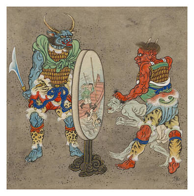 Mirror Drawing - Two Mythological Buddhist Or Hindu Figures Circa 1878 by Aged Pixel