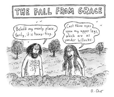 Garden Drawing - Two Naked Humans Speak In The Garden Of Eden  - by Roz Chast