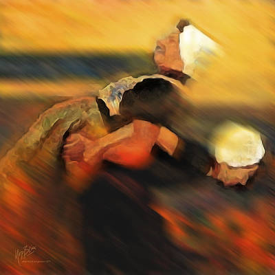 Digital Art - Two Noordwijker Women Playing by Nop Briex