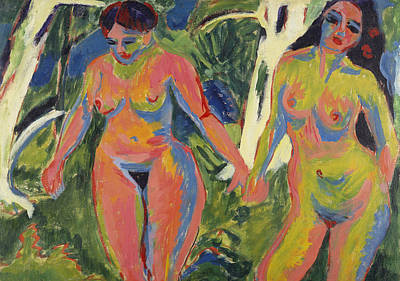 Lesbianism Painting - Two Nude Women In A Wood by Ernst Ludwig Kirchner