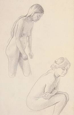 Sad Girl Drawing Drawing - Two Nudes  by Felix Edouard Vallotton