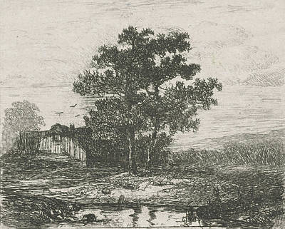 Two Oaks And A Wooden House, Hermanus Jan Hendrik Van Print by Hermanus Jan Hendrik Van Rijkelijkhuysen
