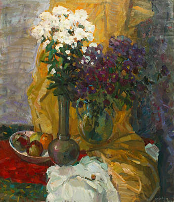 Painting - Two Of Bouquet On The Yellow Drapery by Juliya Zhukova