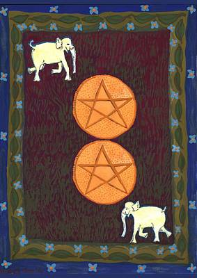 Elephant Painting - Two Of Pentacles by Sushila Burgess