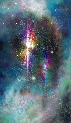 Digital Art - Two Of Wands/stars - Artwork For The Science Tarot by Janelle Schneider
