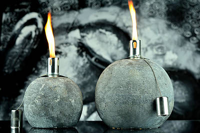 Diwali Photograph - Two Oil Lamps by Tommytechno Sweden