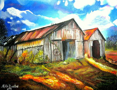 Pastel - Two Old Barns by Mike Benton