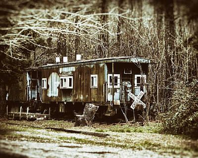 Photograph - Two Old Cabooses In Sepia by Bill Swartwout Fine Art Photography