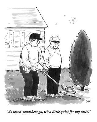 Loud Drawing - Two Old Men In A Yard by Carolita Johnson