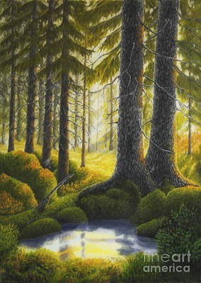Peaceful Places Painting - Two Old Spruce by Veikko Suikkanen