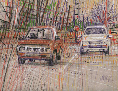 Drawing - Two Old Trucks by Donald Maier