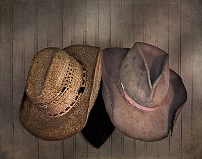 Photograph - Two Old Western Hats by David and Carol Kelly