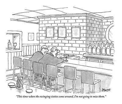 Swinging Drawing - Two Older Men Are Sitting An An Empty Bar Talking by Jack Ziegler
