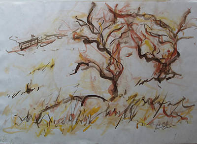 Olive Tree Mixed Media - Two Olive Trees by Esther Newman-Cohen