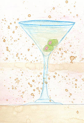Martini Drawings - Two Olives Too Many by Michael Mooney