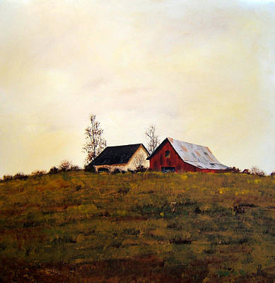 Art Print featuring the painting Two On A Hill by William Renzulli