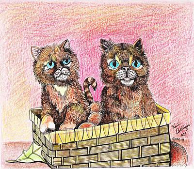 Orange Tabby Drawing - Two Orange Kittens In A Basket by Kevin Dellinger