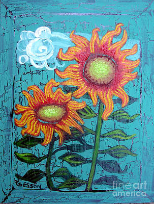 Eco-art Painting - Two Orange Sunflowers by Genevieve Esson