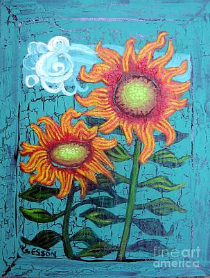 State Love Nancy Ingersoll - Two Orange Sunflowers by Genevieve Esson