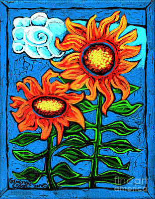 Eco-art Painting - Two Orange  Sunflowers II by Genevieve Esson