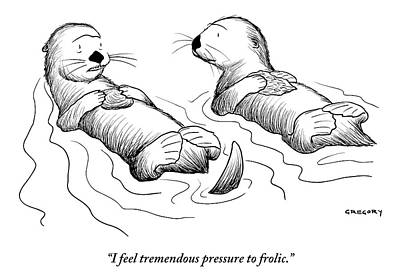July 2013 Drawing - Two Otters Laying On Their Backs. One Is Speaking by Alex Gregory